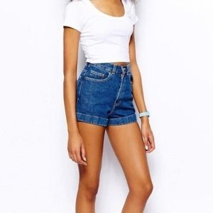 American Apparel high rise denim shorts